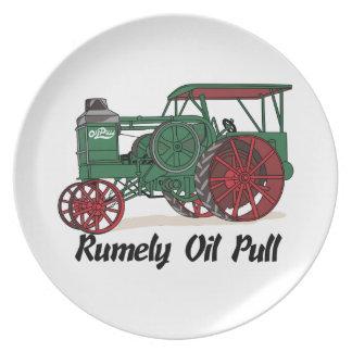 Tractor del tirón del aceite de Rumely Platos Para Fiestas