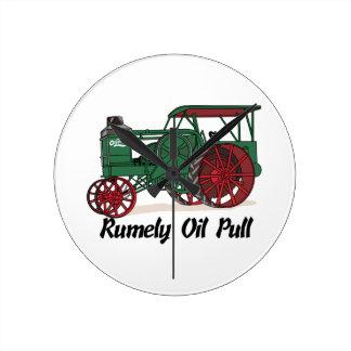 Tractor del tirón del aceite de Rumely Reloj Redondo Mediano
