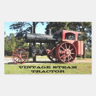 Tractor del vapor del vintage - en color pegatina rectangular