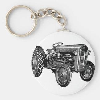 Tractor del vintage llavero redondo tipo pin
