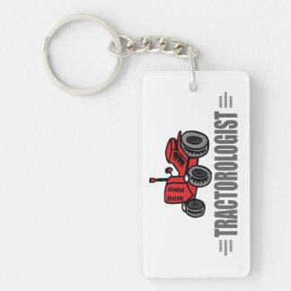 Tractor divertido llavero rectangular acrílico a una cara