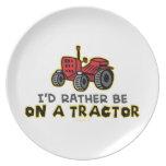 Tractor divertido plato de cena