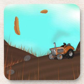Tractor en la granja posavasos de bebidas