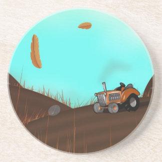 Tractor en la granja posavasos diseño