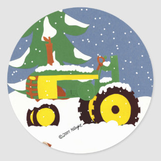 Tractor Envelope Seal Winter Sticker