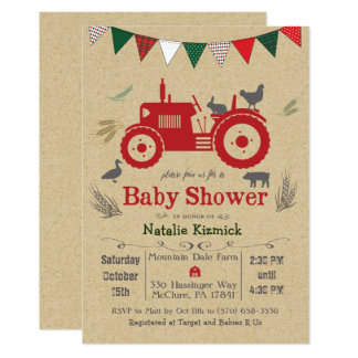 Tractor Farm Animal Baby Shower Invitation