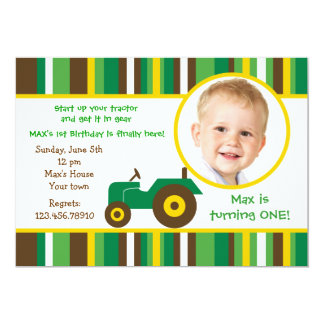 "Tractor farm Photo Birthday Party Invitations 5"" X 7"" Invitation Card"