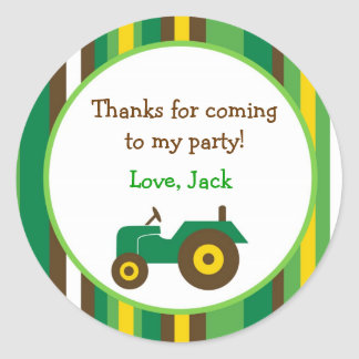 Tractor Farm Round Favor Stickers Envelope Seals