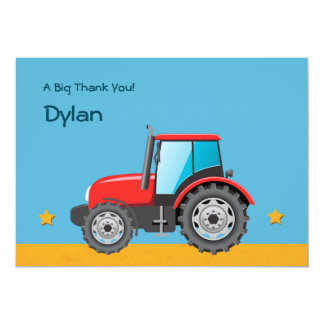 Tractor Farm Vehicle Thank You Personalized Invitation