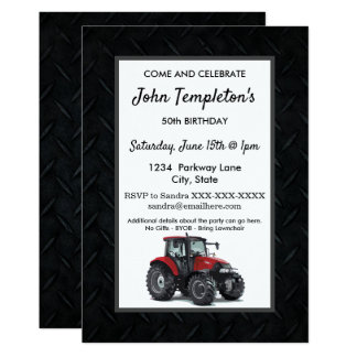 Tractor Farming  Birthday Party Men's Invitation