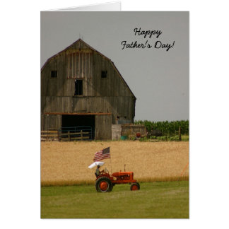 Tractor Father's Day Card: Old tractor and barn