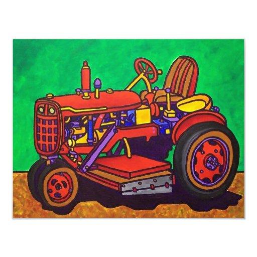 """Tractor feliz por Piliero Invitación 4.25"""" X 5.5"""""""