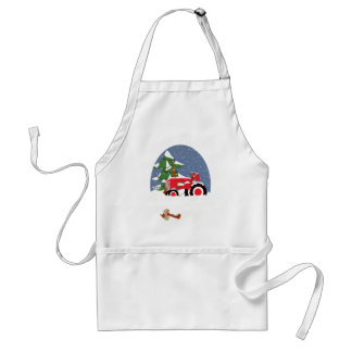Tractor for Christmas Adult Apron