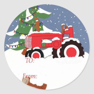 Tractor for Christmas Classic Round Sticker
