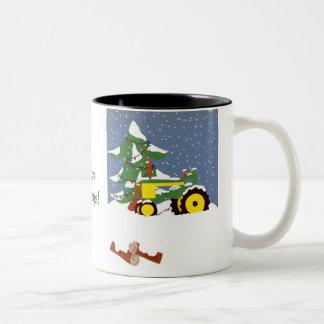 Tractor for Christmas Two-Tone Coffee Mug