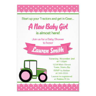Tractor Girl Baby Shower Invitation 5x7 Card