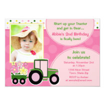 Tractor Girl Birthday Invitation 5x7 Photo Card