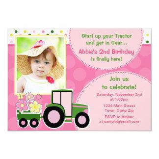 Tractor Girl Birthday Invitation 5x7 Photo Card
