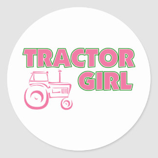 Tractor Girl Classic Round Sticker