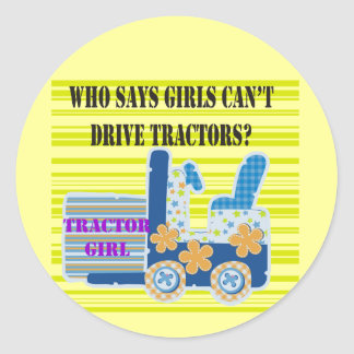 Tractor Girl Tshirts and Gifts Classic Round Sticker