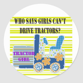 Tractor Girl Tshirts and Gifts Round Stickers