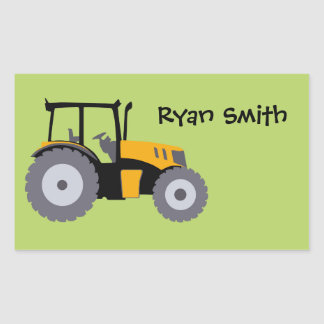Tractor green background school name sticker