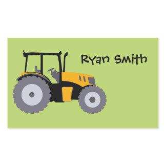 Tractor green background school name sticker