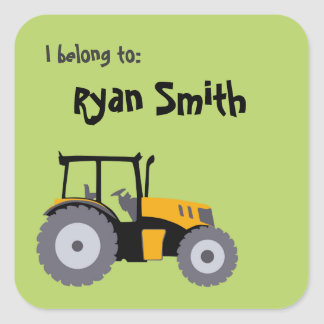 Tractor green school books sticker back to school