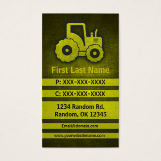 Tractor grunge custom construction business cards