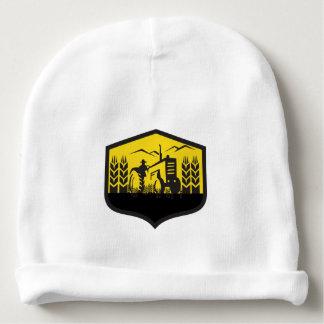 Tractor Harvesting Wheat Farm Crest Retro Baby Beanie