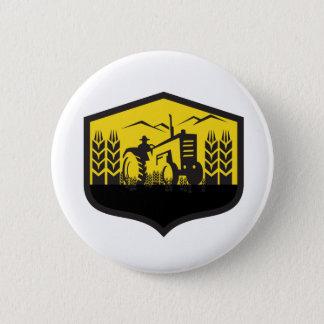Tractor Harvesting Wheat Farm Crest Retro Button