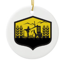 Tractor Harvesting Wheat Farm Crest Retro Ceramic Ornament