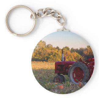 Tractor in a pumpkin field keychain