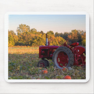 Tractor in a pumpkin field mouse pad