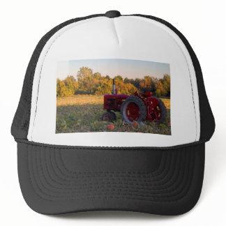 Tractor in a pumpkin field trucker hat