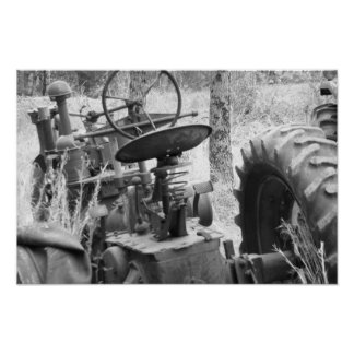 tractor in black and white poster