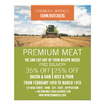 Tractor in Field, Farmer & Butcher Advertising Flyer
