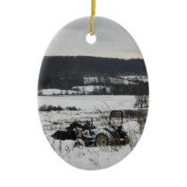 Tractor in Snow Ceramic Ornament