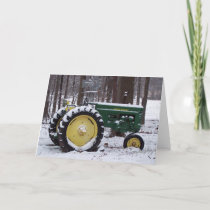tractor in snow holiday card