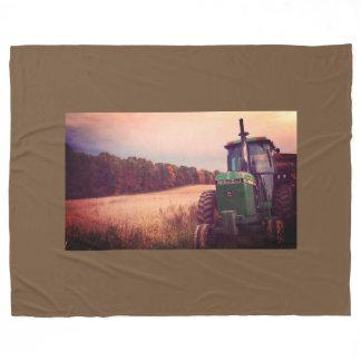 Tractor in the Fall Field Fleece Blanket