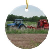Tractor in the Field Ceramic Ornament