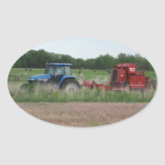 Tractor in the Field Oval Sticker
