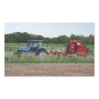 Tractor in the Field Rectangular Sticker