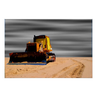 Tractor In The Sand Poster