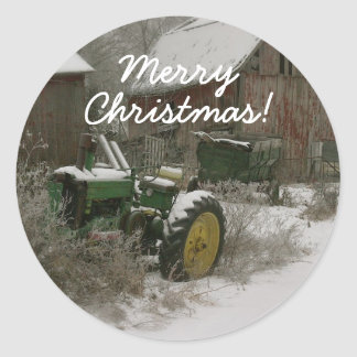 Tractor in the Snow Christmas Envelope Seal Classic Round Sticker