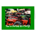 Tractor Invitation: Colorful tractor party Greeting Cards