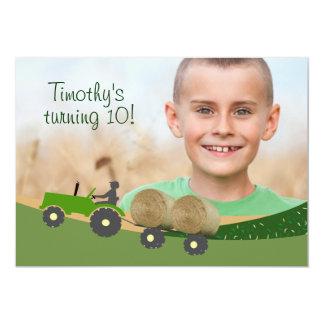"""Tractor Invitation: Cute Hay Bale Farm Scene 5"""" X 7"""" Invitation Card"""