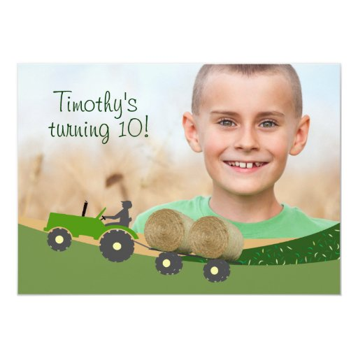 Tractor Invitation: Cute Hay Bale Farm Scene 5x7 Paper Invitation Card