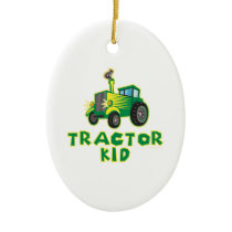 Tractor Kid, Green Ceramic Ornament