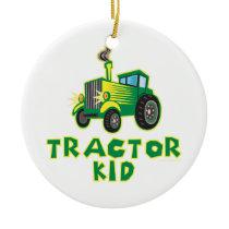 Tractor Kid, Green Ceramic Ornament